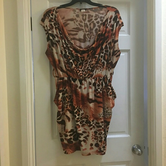 Plus size animal print stretchy dress